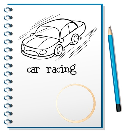 Illustration of a notebook with a drawing of a car racing on a white background Stock Vector - 19301305