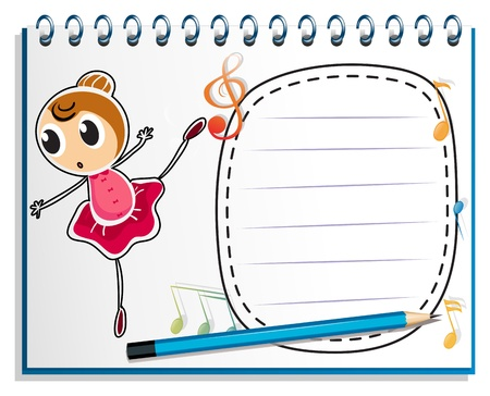 Illustration of a notebook with a drawing of a ballet dancer on a white background