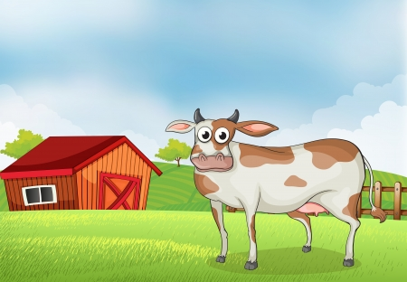 rootcrops: Illustration of a cow in the farm with a wooden house at the back
