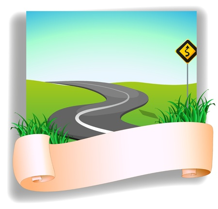 hillside: Illustration of a road with a signage on a white background Illustration