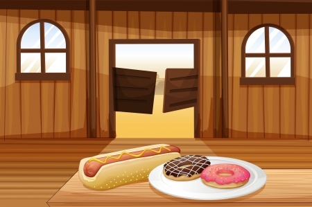 melaware: Illustration of a saloon bar with foods in the table