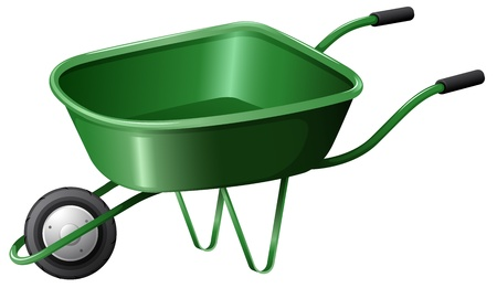 Illustration of a green construction cart on a white background Vector