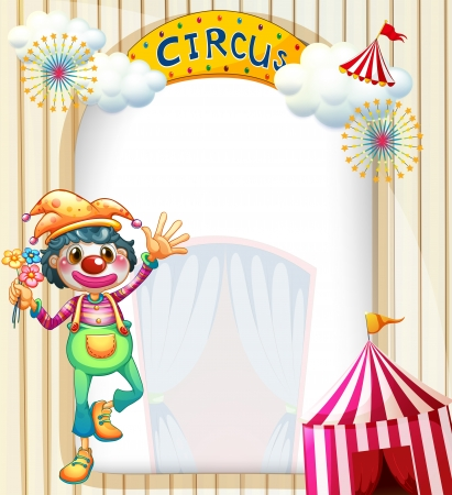 Illustration of a circus entrance with a clown Vector
