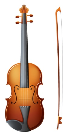 Illustration of a brown violin on a white background Vector
