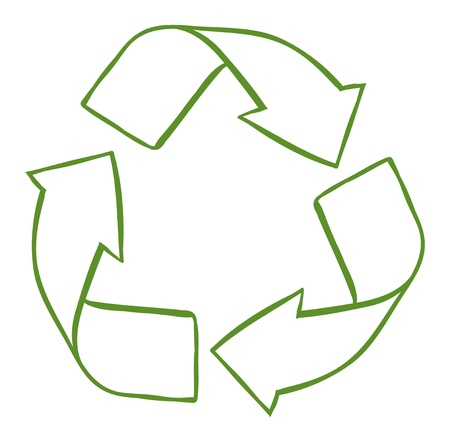 pointed arrows: Illustration of a recycle symbol on a white background