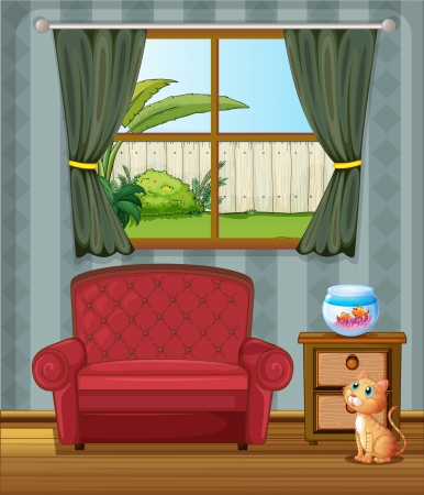 Illustration of a cat looking at the fish inside the house Vector