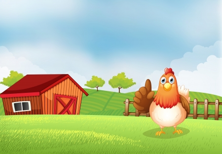 Illustration of a hen at the farm Vector