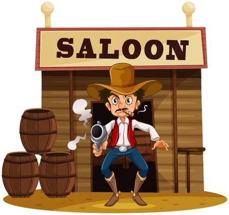 taverns: Ilustraci�n de un hombre con un arma de fuego fuera del bar-sal�n en un fondo blanco