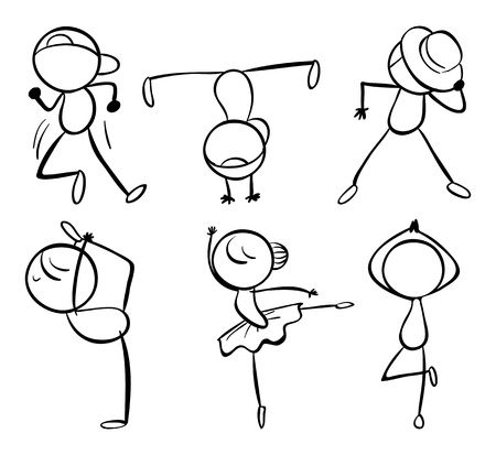 male ballet dancer: Illustration of the six different kinds of dance moves on  a white background