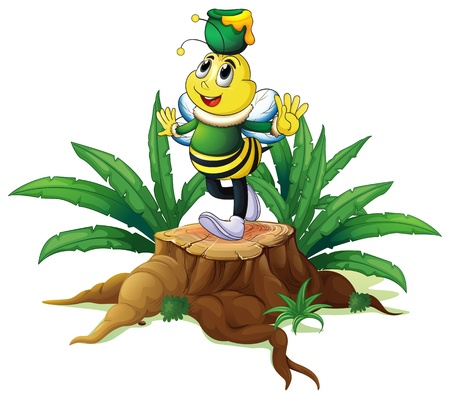 cut logs: Illustration of a tree with a bee on a white background