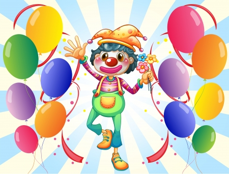 Illustration of a clown in the middle of the balloons with flowers on a white background Stock Vector - 19301628