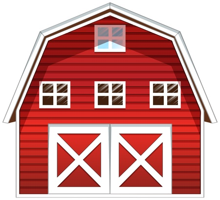 barn wood: Illustration of a red barn house on a white background