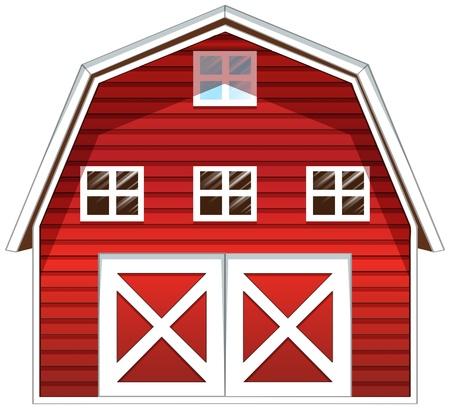 granero: Ilustraci�n de una casa granero rojo sobre un fondo blanco