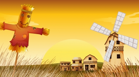Illustration of a farm with a scarecrow and a windmill