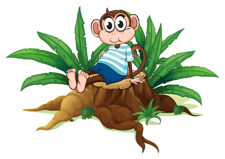 timber cutting: Illustration of a tired monkey sitting above the wood on a white background