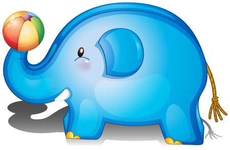 Illustration of an elephant toy with a ball on a white background Vector