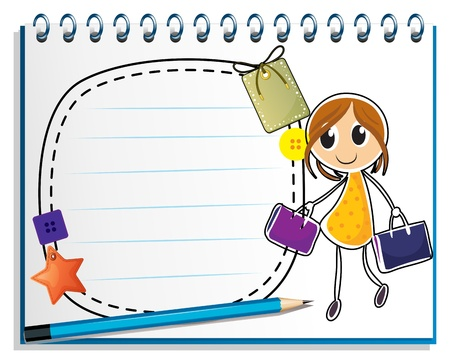 Illustration of a notebook with a drawing of a girl holding bags on a white background Vector
