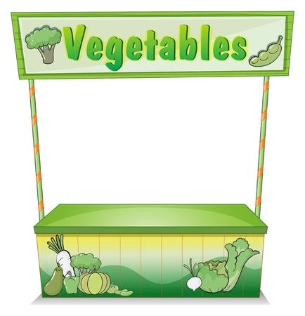 rootcrops: Illustration of a vegetable stall on a white background