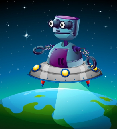 Illustration of a robot above the earth Stock Vector - 19301611