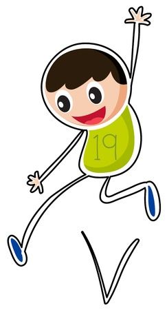 Illustration of a boy jumping on a white background Stock Vector - 19301285