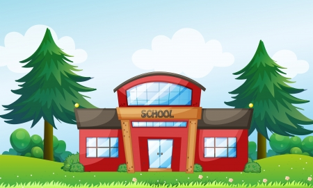 college building: Illustration of a red school building