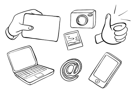 ear phones: Illustration of the different kinds of gadgets on a white background