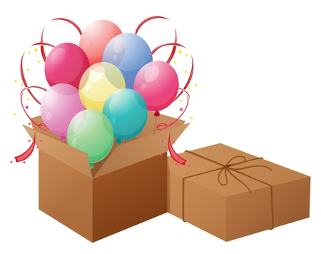 wrapped corner: Illustration of the balloons with boxes on a white background Illustration