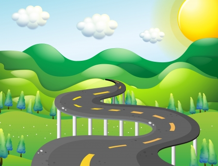 winding road: Illustration of a very narrow road Illustration