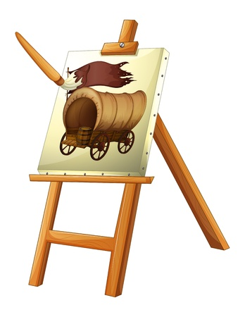 canvass: Illustration of a painting of a wooden carriage on a white background