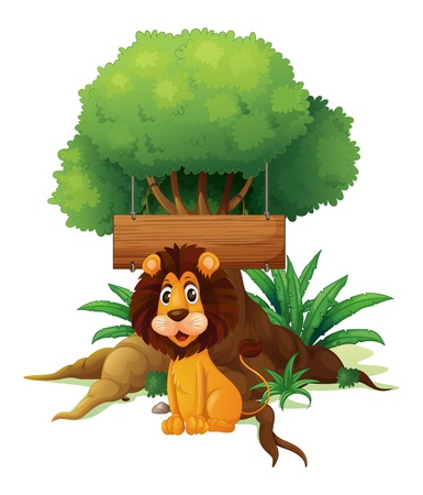 Illustration of a lion in front of an empty wooden signboard on a white background Stock Vector - 19301539
