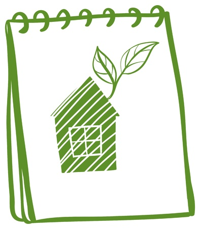 Illustration of a notebook with a drawing of a house with leaves on a white background Stock Vector - 19301368
