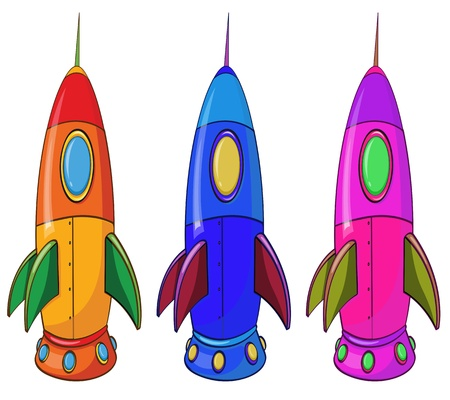 elliptic: Illustration of the three colorful spaceships on a white background Illustration