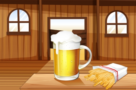 swingdoor: Illustration of a mug of cold beer and french fries at the saloon bar Illustration