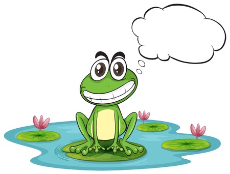 Illustration of a frog at the pond with empty callout on a white background Vector