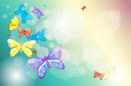 mariposas amarillas: Ilustración de las mariposas de colores en un papel especial