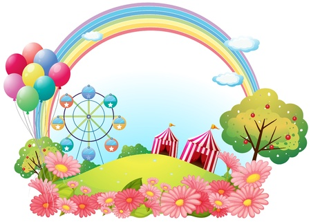 rainbow stripe: Illustration of a hill with circus tents, balloons and a ferris wheel on a white background