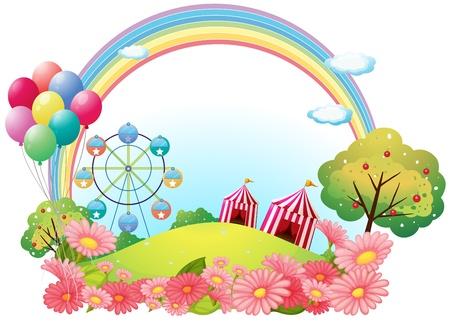 Illustrazione di una collina con tendoni da circo, palloncini e una ruota panoramica su uno sfondo bianco