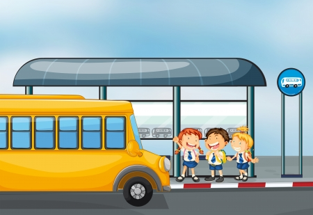 yellow schoolbus: Illustration of a yellow school bus and the three kids Illustration