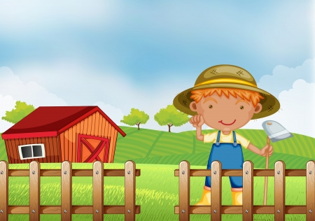 hoe: Illustration of a farmer holding a hoe inside the wooden fence with barn