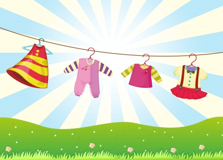 Illustration of the hanging baby clothes in the hill Vector