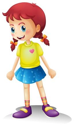 Ilustración de una niña sonriente con un vestido de colores sobre un fondo blanco Ilustración de vector