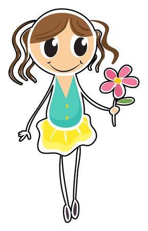 Illustration d'une jeune fille tenant une fleur sur un fond blanc Vecteurs