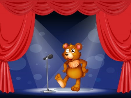 stageplay: Illustration of a stage with a bear performing