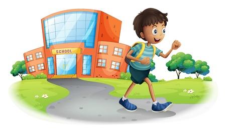 schulgeb�ude: Illustration eines Jungen nach Hause von der Schule auf einem wei�en Hintergrund
