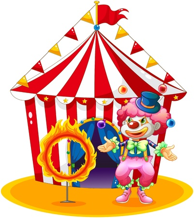 Illustration of a female clown juggling in front of the tent on a white background Vector