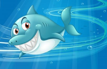 Illustration of a shark under the sea Vector
