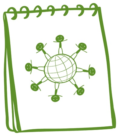 Illustration of a green notebook with a drawing of kids standing around the globe on a white background Stock Vector - 19301373