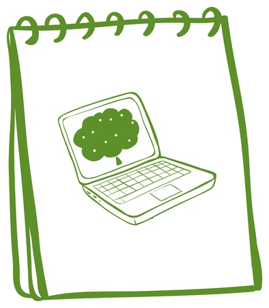 Illustration of a green notebook with a drawing of a laptop on a white background Stock Vector - 19301370