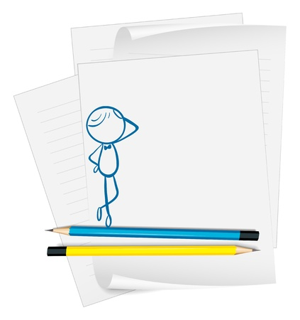 Illustration of a paper with a drawing of a man standing on a white background Stock Vector - 19301271