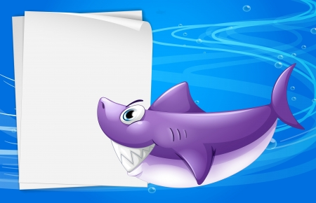 Illustration of a blank paper in the sea Vector